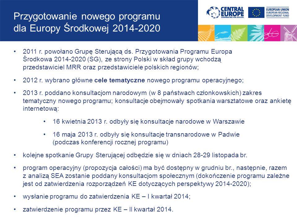 Przygotowanie nowego programu dla Europy Środkowej 2014-2020 2011 r. powołano Grupę Sterującą ds. Przygotowania Programu Europa Środkowa 2014-2020 (SG
