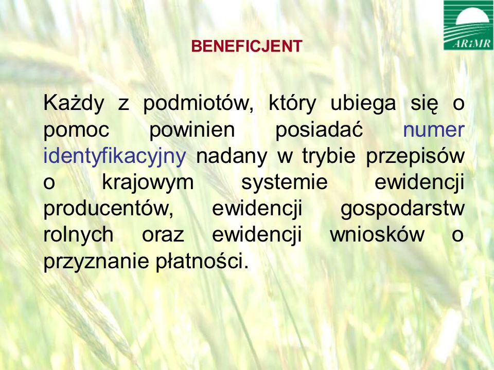 opracował: Bartłomiej Raczek10 BENEFICJENT Każdy z podmiotów, który ubiega się o pomoc powinien posiadać numer identyfikacyjny nadany w trybie przepisów o krajowym systemie ewidencji producentów, ewidencji gospodarstw rolnych oraz ewidencji wniosków o przyznanie płatności.