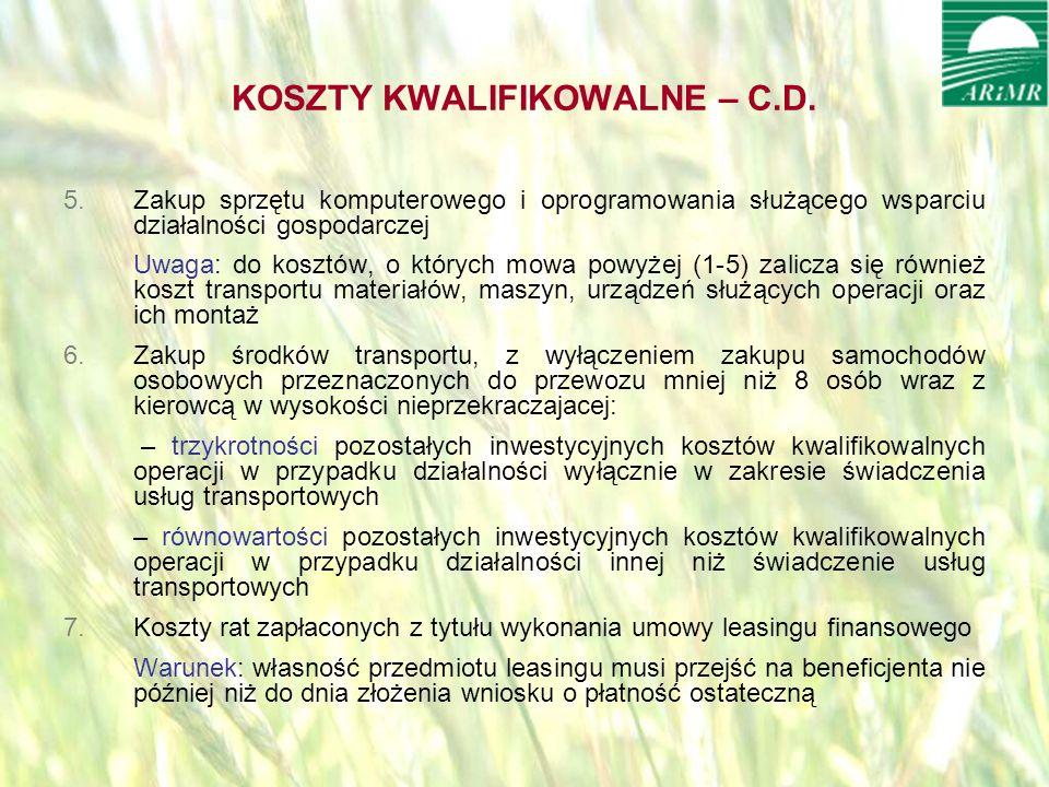 opracował: Bartłomiej Raczek14 KOSZTY KWALIFIKOWALNE – C.D.