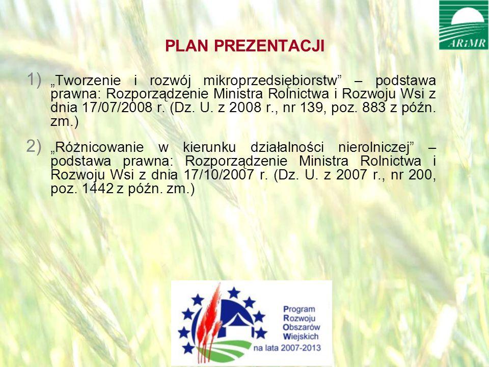 opracował: Bartłomiej Raczek2 PLAN PREZENTACJI 1) Tworzenie i rozwój mikroprzedsiębiorstw – podstawa prawna: Rozporządzenie Ministra Rolnictwa i Rozwoju Wsi z dnia 17/07/2008 r.