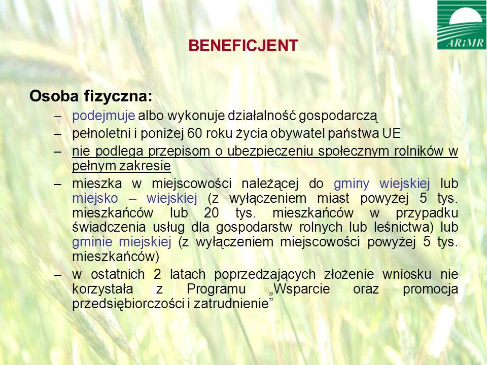 opracował: Bartłomiej Raczek6 BENEFICJENT Osoba fizyczna: –podejmuje albo wykonuje działalność gospodarczą –pełnoletni i poniżej 60 roku życia obywatel państwa UE –nie podlega przepisom o ubezpieczeniu społecznym rolników w pełnym zakresie –mieszka w miejscowości należącej do gminy wiejskiej lub miejsko – wiejskiej (z wyłączeniem miast powyżej 5 tys.