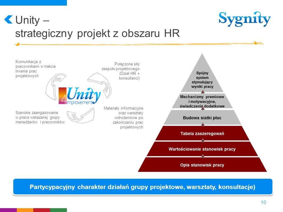 Unity – strategiczny projekt z obszaru HR 10 Komunikacja z pracownikami w trakcie trwania prac projektowych Szerokie zaangazowanie w prace wskazanej g