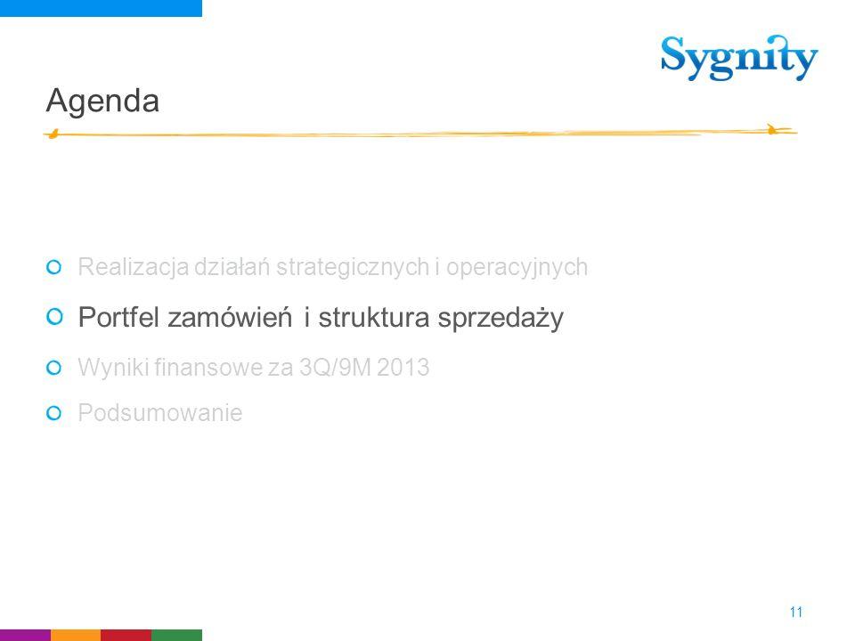 Agenda Realizacja działań strategicznych i operacyjnych Portfel zamówień i struktura sprzedaży Wyniki finansowe za 3Q/9M 2013 Podsumowanie 11