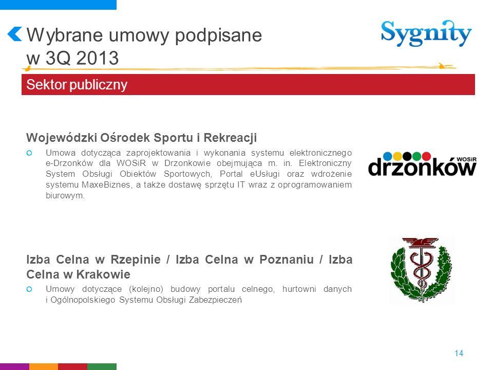 Wybrane umowy podpisane w 3Q 2013 14 Sektor publiczny Wojewódzki Ośrodek Sportu i Rekreacji Umowa dotycząca zaprojektowania i wykonania systemu elektr
