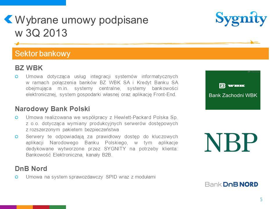 Wybrane umowy podpisane w 3Q 2013 15 Sektor bankowy BZ WBK Umowa dotycząca usług integracji systemów informatycznych w ramach połączenia banków BZ WBK