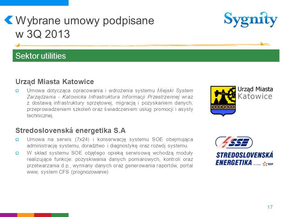 Wybrane umowy podpisane w 3Q 2013 17 Sektor utilities Urząd Miasta Katowice Umowa dotycząca opracowania i wdrożenia systemu Miejski System Zarządzania