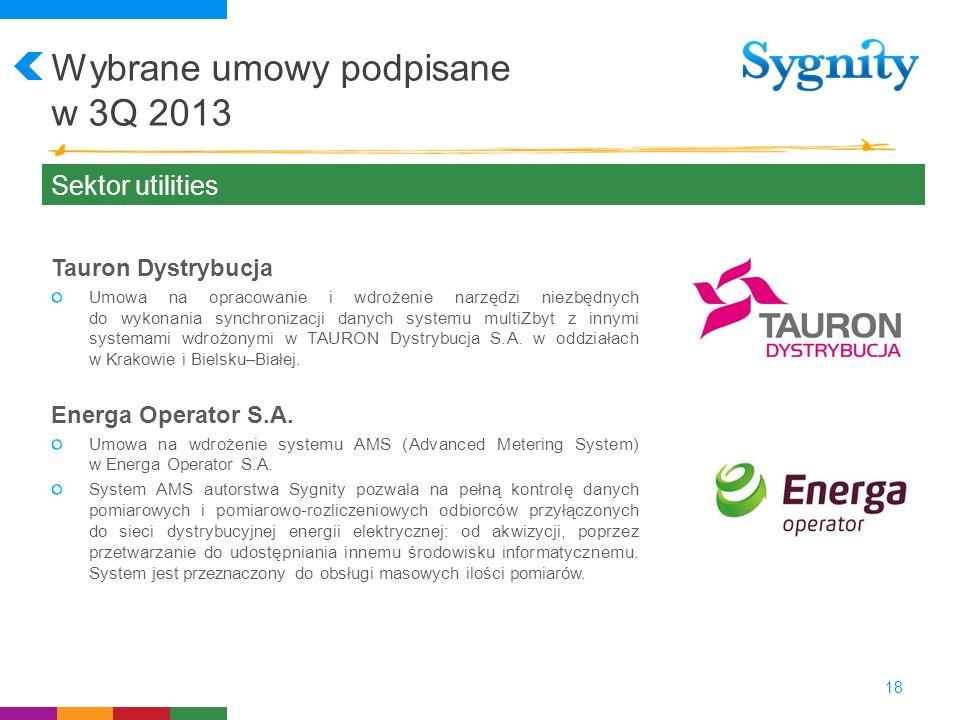 Wybrane umowy podpisane w 3Q 2013 18 Sektor utilities Tauron Dystrybucja Umowa na opracowanie i wdrożenie narzędzi niezbędnych do wykonania synchroniz