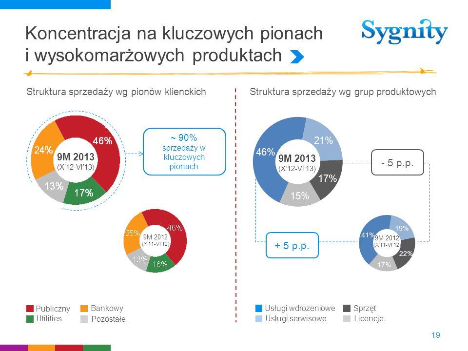 Koncentracja na kluczowych pionach i wysokomarżowych produktach 19 Struktura sprzedaży wg pionów klienckichStruktura sprzedaży wg grup produktowych Us