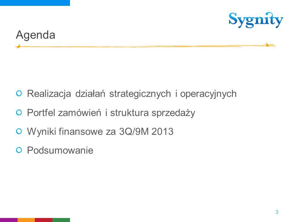 Agenda Realizacja działań strategicznych i operacyjnych Portfel zamówień i struktura sprzedaży Wyniki finansowe za 3Q/9M 2013 Podsumowanie 3