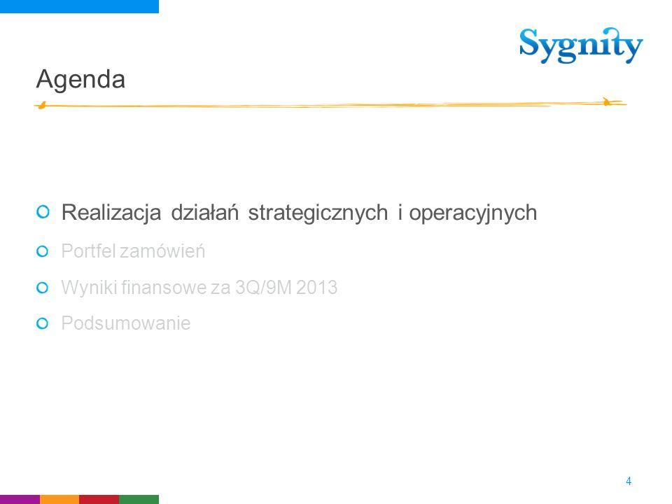 Agenda Realizacja działań strategicznych i operacyjnych Portfel zamówień Wyniki finansowe za 3Q/9M 2013 Podsumowanie 4