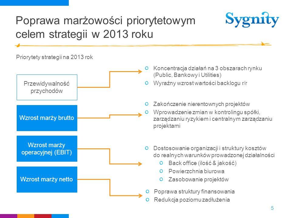 Poprawa marżowości priorytetowym celem strategii w 2013 roku Przewidywalność przychodów Wzrost marży brutto Wzrost marży operacyjnej (EBIT) Wzrost mar