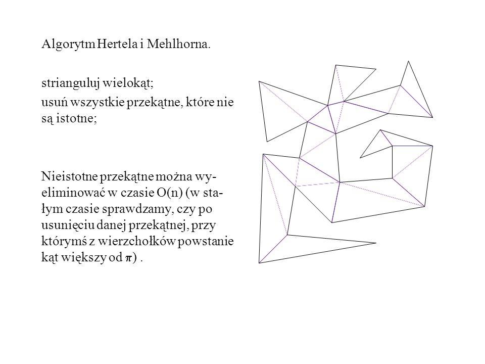 Algorytm Hertela i Mehlhorna. strianguluj wielokąt; usuń wszystkie przekątne, które nie są istotne; Nieistotne przekątne można wy- eliminować w czasie