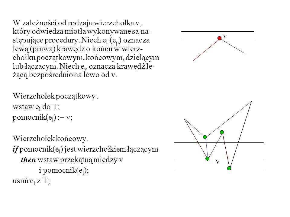 W zależności od rodzaju wierzchołka v, który odwiedza miotła wykonywane są na- stępujące procedury. Niech e l (e p ) oznacza lewą (prawą) krawędź o ko