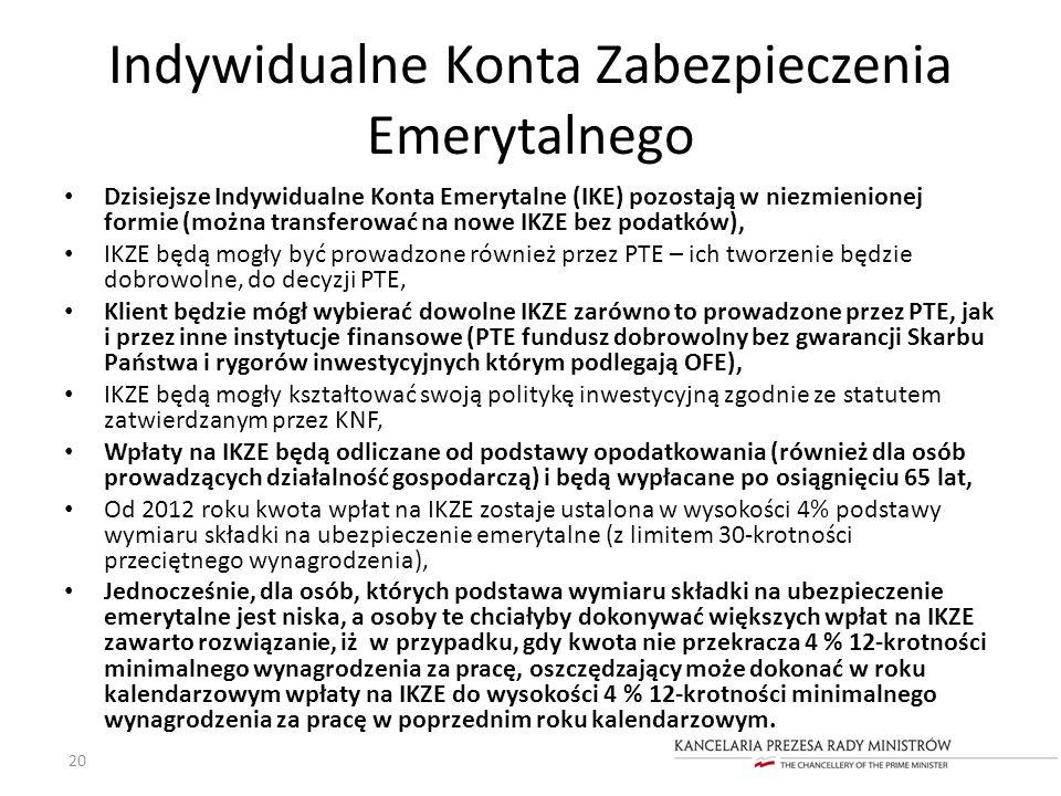Indywidualne Konta Zabezpieczenia Emerytalnego Dzisiejsze Indywidualne Konta Emerytalne (IKE) pozostają w niezmienionej formie (można transferować na