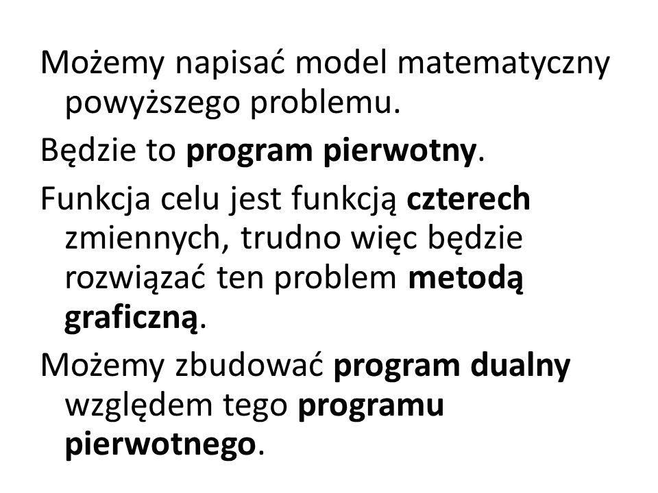Możemy napisać model matematyczny powyższego problemu.