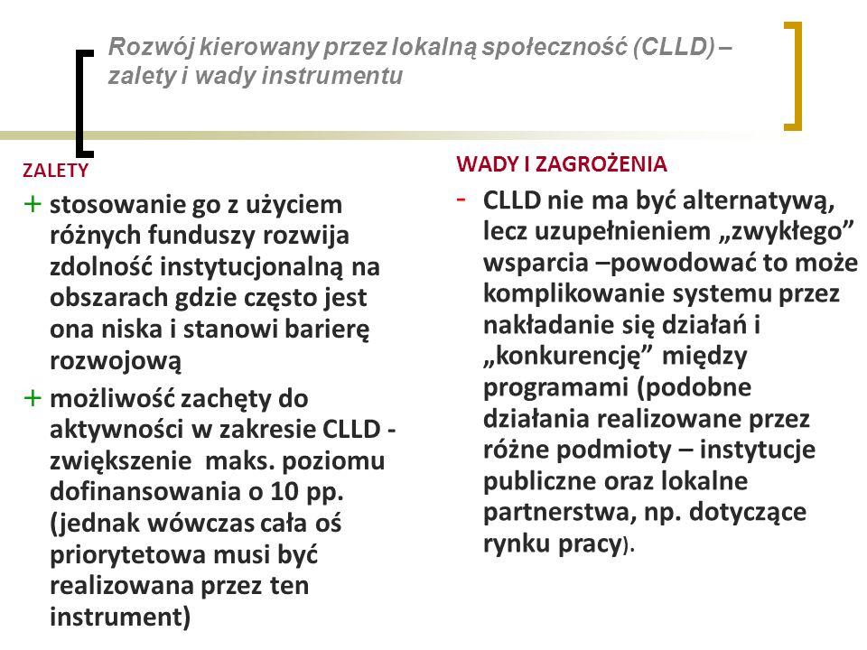 Rozwój kierowany przez lokalną społeczność (CLLD) – zalety i wady instrumentu ZALETY + stosowanie go z użyciem różnych funduszy rozwija zdolność instytucjonalną na obszarach gdzie często jest ona niska i stanowi barierę rozwojową + możliwość zachęty do aktywności w zakresie CLLD - zwiększenie maks.