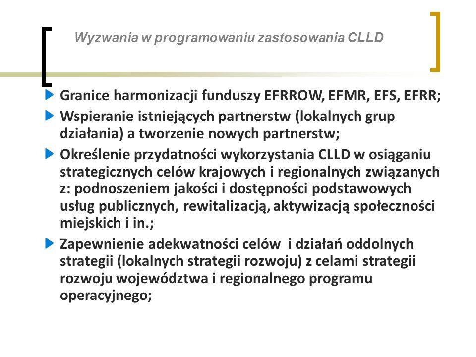 Wyzwania w programowaniu zastosowania CLLD Granice harmonizacji funduszy EFRROW, EFMR, EFS, EFRR; Wspieranie istniejących partnerstw (lokalnych grup działania) a tworzenie nowych partnerstw; Określenie przydatności wykorzystania CLLD w osiąganiu strategicznych celów krajowych i regionalnych związanych z: podnoszeniem jakości i dostępności podstawowych usług publicznych, rewitalizacją, aktywizacją społeczności miejskich i in.; Zapewnienie adekwatności celów i działań oddolnych strategii (lokalnych strategii rozwoju) z celami strategii rozwoju województwa i regionalnego programu operacyjnego;