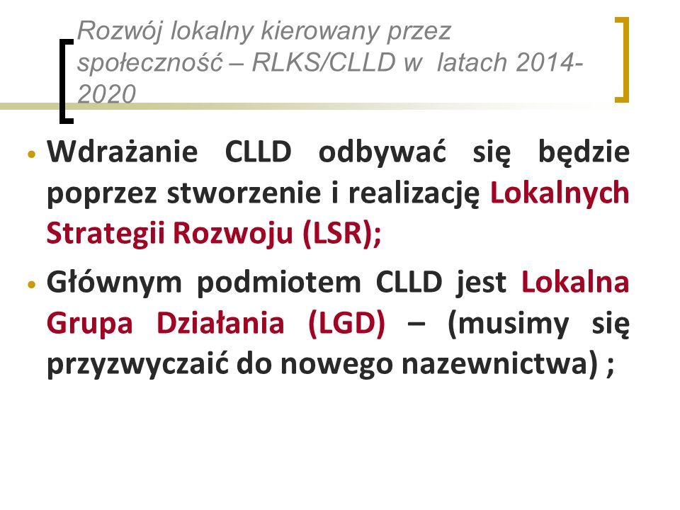 Rozwój lokalny kierowany przez społeczność – RLKS/CLLD w latach 2014- 2020 Wdrażanie CLLD odbywać się będzie poprzez stworzenie i realizację Lokalnych Strategii Rozwoju (LSR); Głównym podmiotem CLLD jest Lokalna Grupa Działania (LGD) – (musimy się przyzwyczaić do nowego nazewnictwa) ;