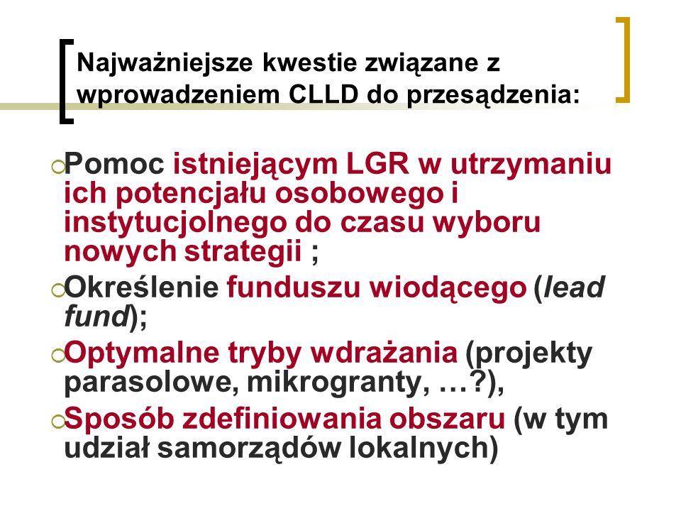 Najważniejsze kwestie związane z wprowadzeniem CLLD do przesądzenia: Pomoc istniejącym LGR w utrzymaniu ich potencjału osobowego i instytucjolnego do czasu wyboru nowych strategii ; Określenie funduszu wiodącego (lead fund); Optymalne tryby wdrażania (projekty parasolowe, mikrogranty, … ), Sposób zdefiniowania obszaru (w tym udział samorządów lokalnych)