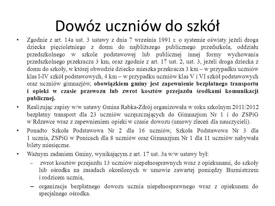 Dowóz uczniów do szkół Zgodnie z art. 14a ust. 3 ustawy z dnia 7 września 1991 r. o systemie oświaty jeżeli droga dziecka pięcioletniego z domu do naj