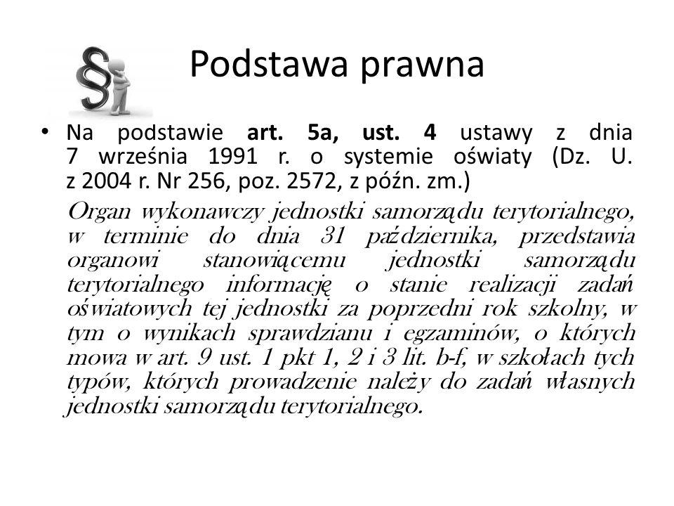 Podstawa prawna Na podstawie art. 5a, ust. 4 ustawy z dnia 7 września 1991 r. o systemie oświaty (Dz. U. z 2004 r. Nr 256, poz. 2572, z późn. zm.) Org