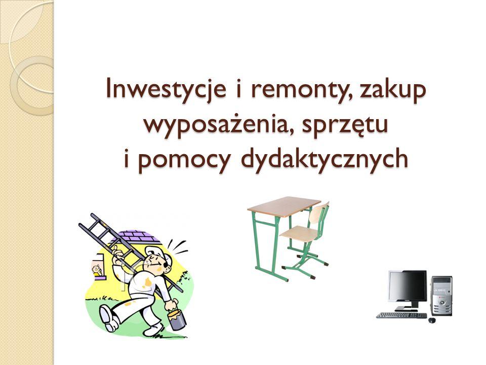 Inwestycje i remonty, zakup wyposażenia, sprzętu i pomocy dydaktycznych
