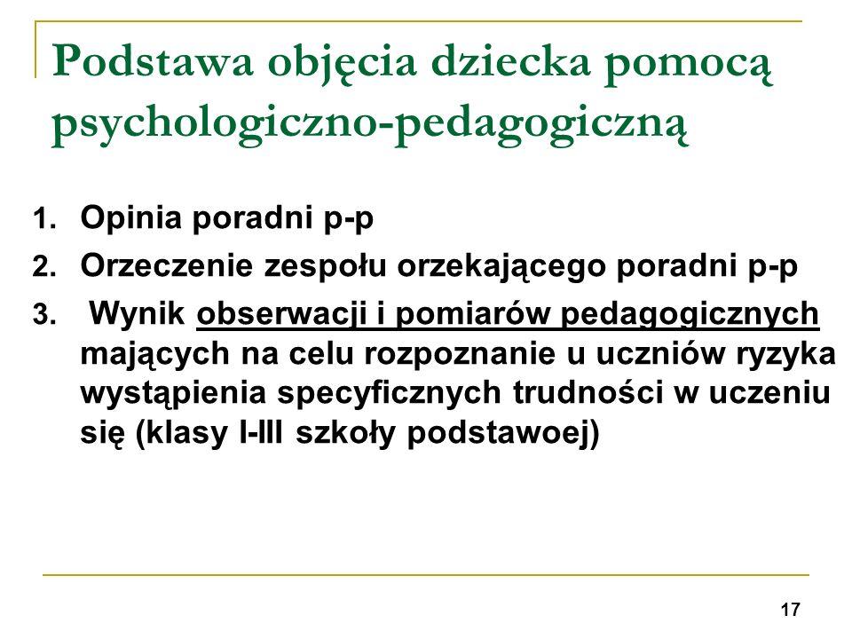 Podstawa objęcia dziecka pomocą psychologiczno-pedagogiczną 1. Opinia poradni p-p 2. Orzeczenie zespołu orzekającego poradni p-p 3. Wynik obserwacji i