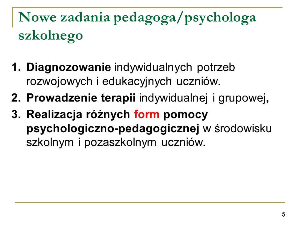 Nowe zadania pedagoga/psychologa szkolnego 1.Diagnozowanie indywidualnych potrzeb rozwojowych i edukacyjnych uczniów. 2.Prowadzenie terapii indywidual