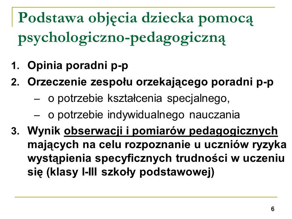 Podstawa objęcia dziecka pomocą psychologiczno-pedagogiczną 1. Opinia poradni p-p 2. Orzeczenie zespołu orzekającego poradni p-p – o potrzebie kształc