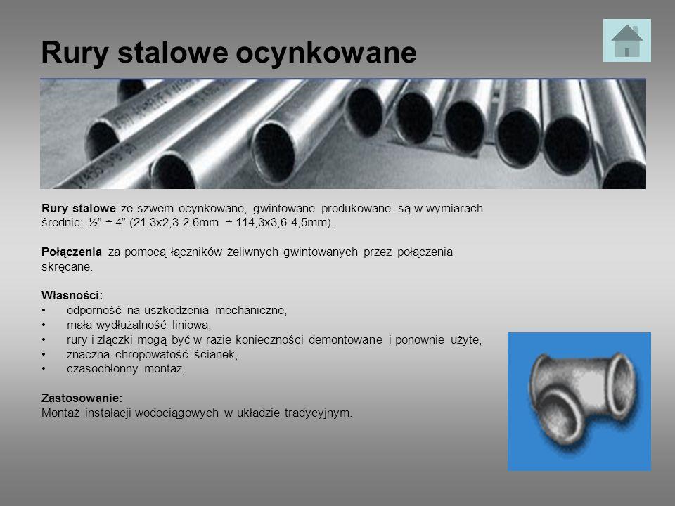 Rury stalowe ocynkowane Rury stalowe ze szwem ocynkowane, gwintowane produkowane są w wymiarach średnic: ½ ÷ 4 (21,3x2,3-2,6mm ÷ 114,3x3,6-4,5mm). Poł