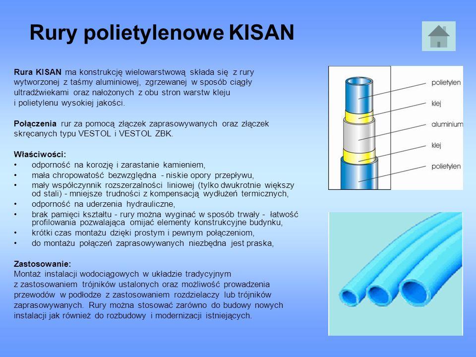 Rury polietylenowe KISAN Rura KISAN ma konstrukcję wielowarstwową składa się z rury wytworzonej z taśmy aluminiowej, zgrzewanej w sposób ciągły ultrad