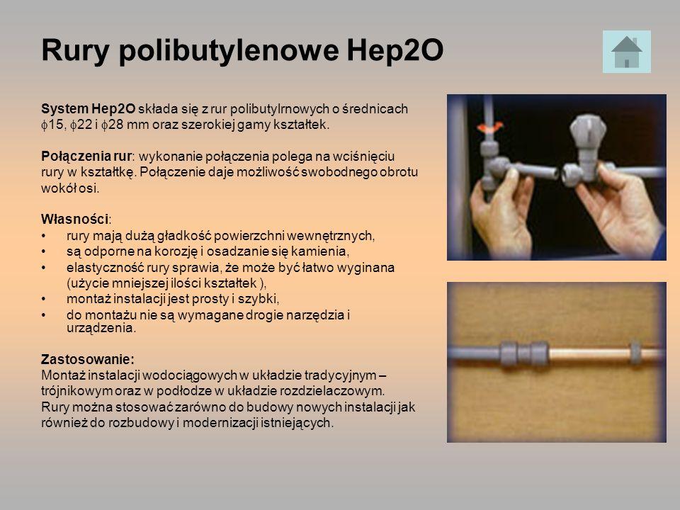 Rury polibutylenowe Hep2O System Hep2O składa się z rur polibutylrnowych o średnicach 15, 22 i 28 mm oraz szerokiej gamy kształtek. Połączenia rur: wy