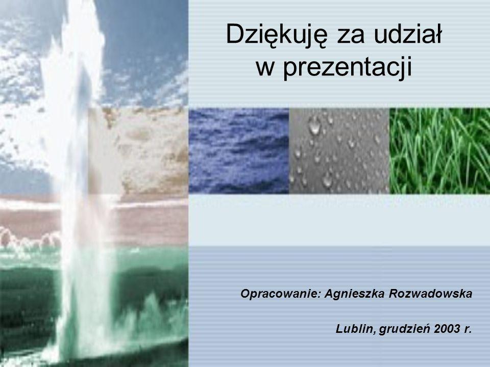 Dziękuję za udział w prezentacji Opracowanie: Agnieszka Rozwadowska Lublin, grudzień 2003 r.