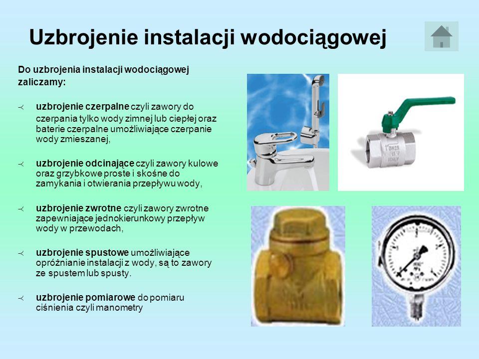 Urządzenia w instalacjach wodociągowych W instalacjach wodociągowych stosuje się: pompy do tłoczenia wody gdy ciśnienie dyspozycyjne jest zbyt niskie, zbiorniki wodociągowe do magazynowania wody w czasie nierównomiernego rozbioru, wodomierze do pomiaru objętości zużytej wody, filtry do poprawy jakości wody i usuwania z niej zanieczyszczeń.