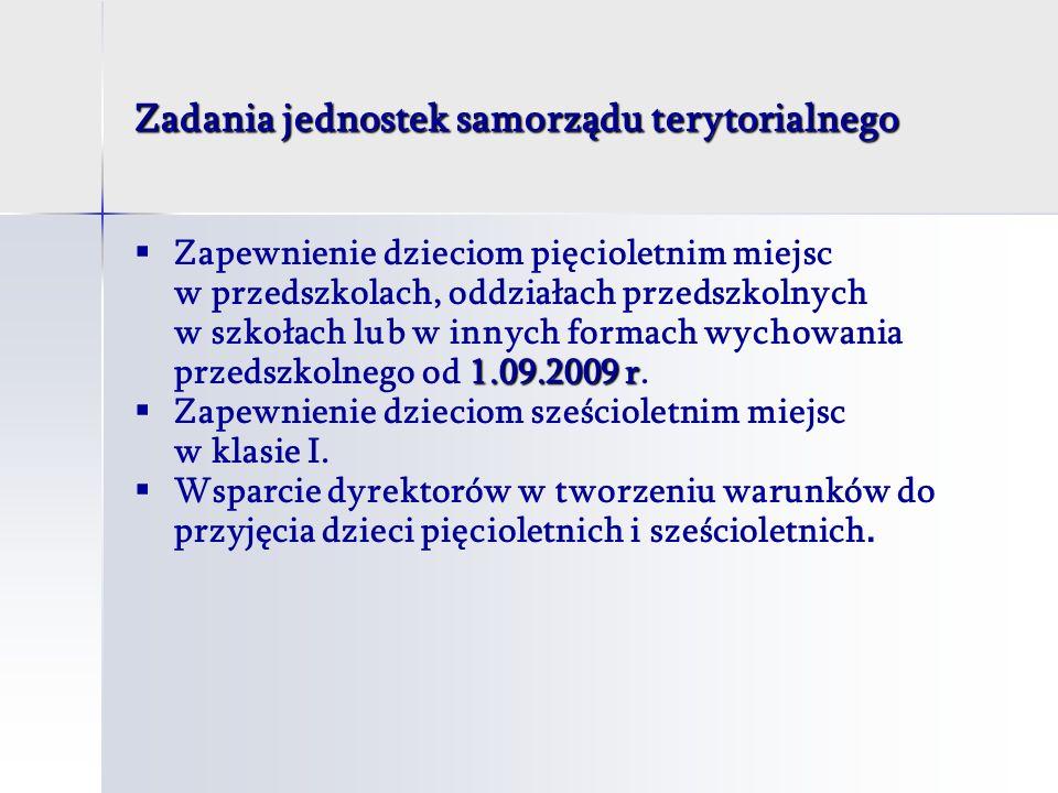 Zadania jednostek samorządu terytorialnego 1.09.2009 r Zapewnienie dzieciom pięcioletnim miejsc w przedszkolach, oddziałach przedszkolnych w szkołach lub w innych formach wychowania przedszkolnego od 1.09.2009 r.