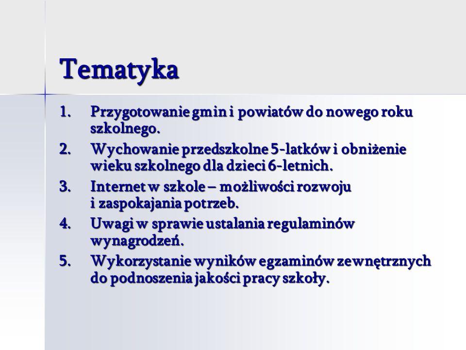 Tematyka 1.Przygotowanie gmin i powiatów do nowego roku szkolnego.