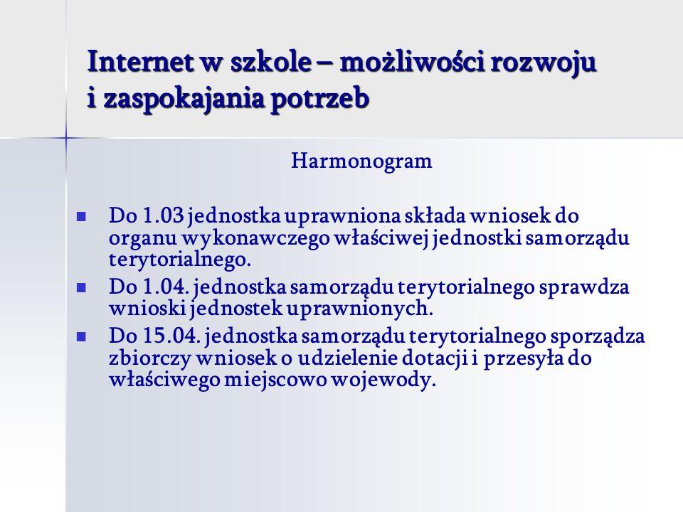 Internet w szkole – możliwości rozwoju i zaspokajania potrzeb Harmonogram Do 1.03 jednostka uprawniona składa wniosek do organu wykonawczego właściwej jednostki samorządu terytorialnego.