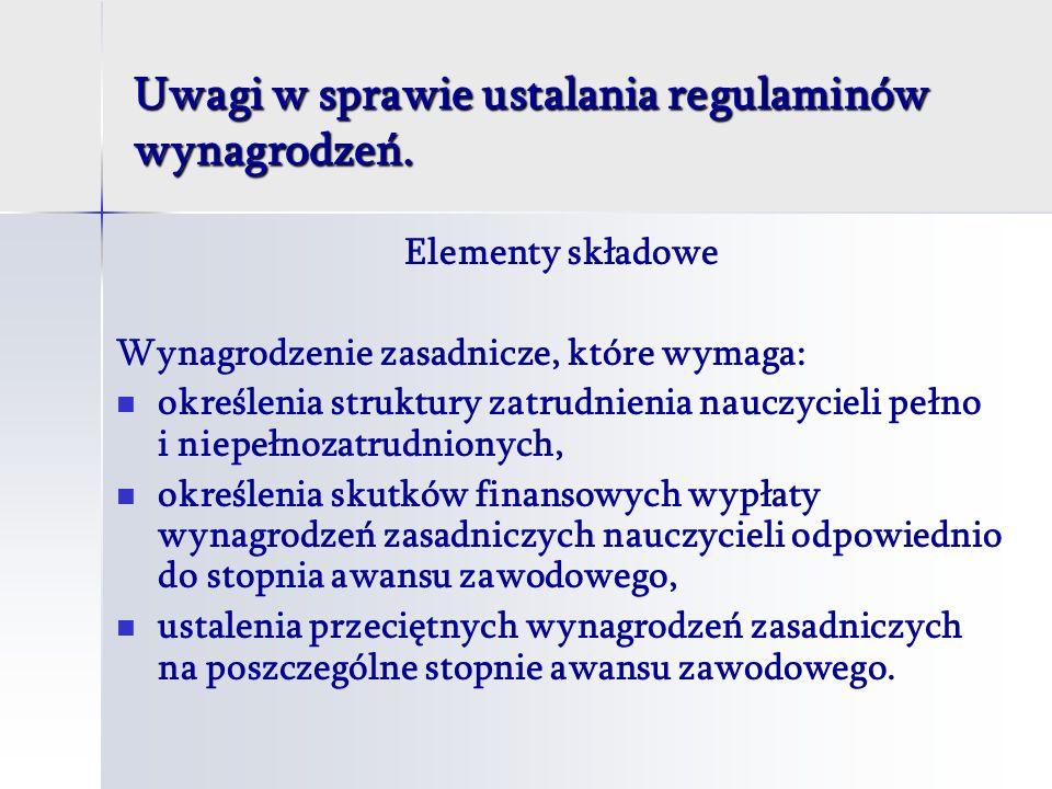Uwagi w sprawie ustalania regulaminów wynagrodzeń.