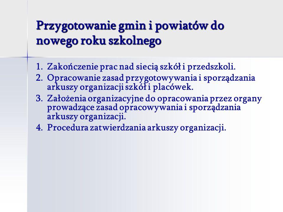 Przygotowanie gmin i powiatów do nowego roku szkolnego 1.