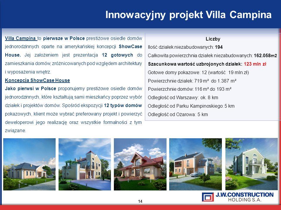 14 Villa Campina to pierwsze w Polsce prestiżowe osiedle domów jednorodzinnych oparte na amerykańskiej koncepcji ShowCase House. Jej założeniem jest p
