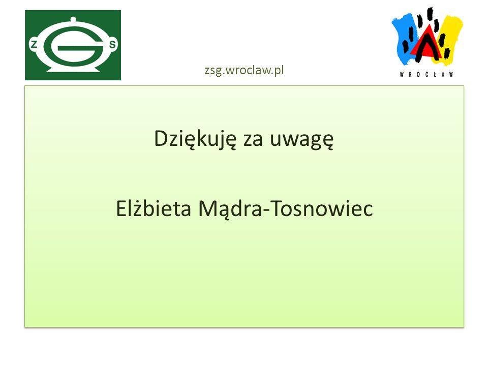 Dziękuję za uwagę Elżbieta Mądra-Tosnowiec Dziękuję za uwagę Elżbieta Mądra-Tosnowiec zsg.wroclaw.pl