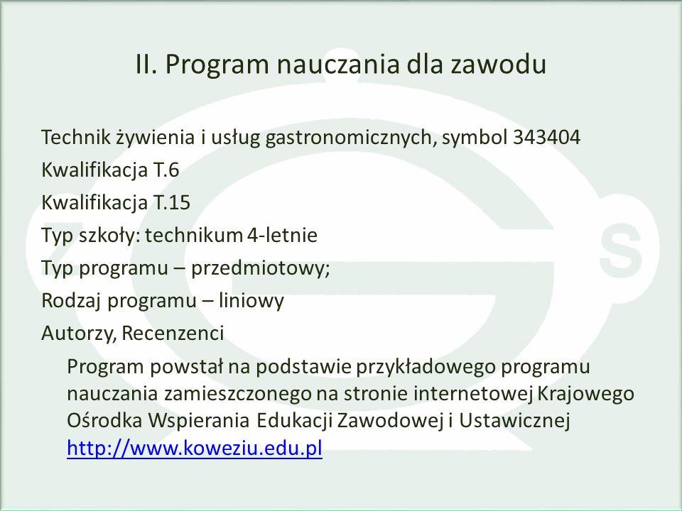 II. Program nauczania dla zawodu Technik żywienia i usług gastronomicznych, symbol 343404 Kwalifikacja T.6 Kwalifikacja T.15 Typ szkoły: technikum 4-l