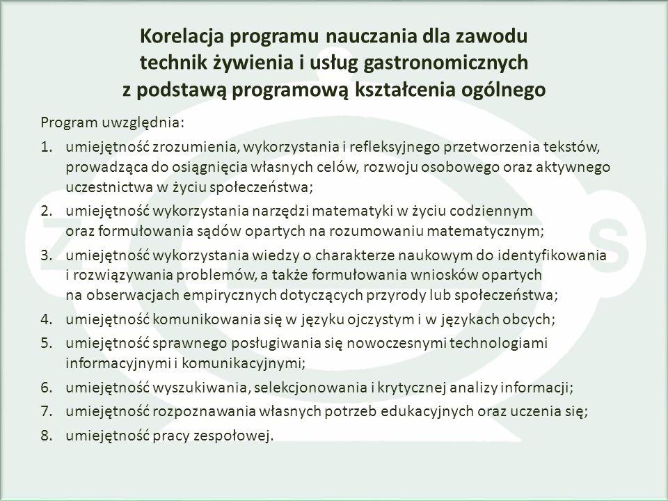 Korelacja programu nauczania dla zawodu technik żywienia i usług gastronomicznych z podstawą programową kształcenia ogólnego Program uwzględnia: 1.umi