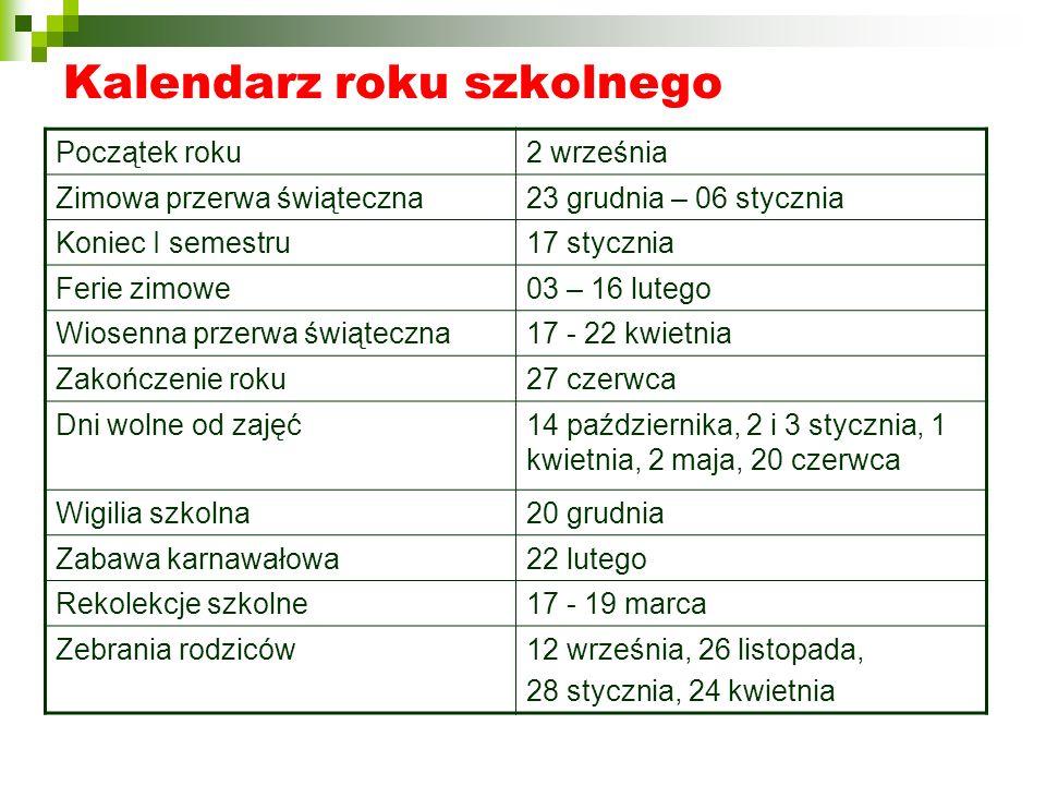 Kalendarz roku szkolnego Początek roku2 września Zimowa przerwa świąteczna23 grudnia – 06 stycznia Koniec I semestru17 stycznia Ferie zimowe03 – 16 lu
