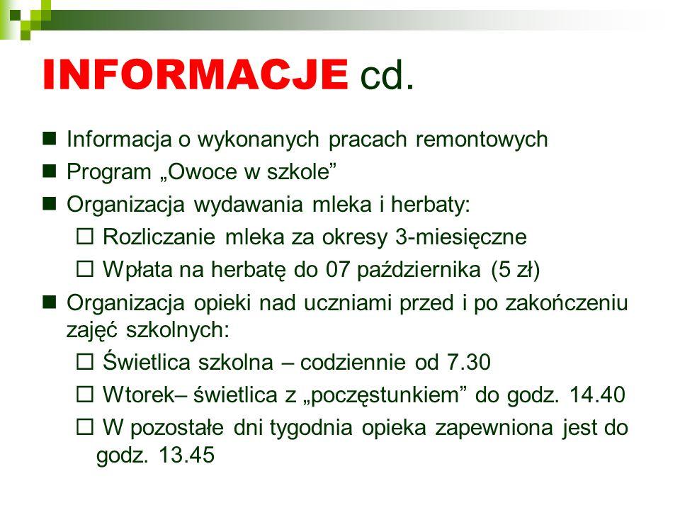 INFORMACJE cd. Informacja o wykonanych pracach remontowych Program Owoce w szkole Organizacja wydawania mleka i herbaty: Rozliczanie mleka za okresy 3