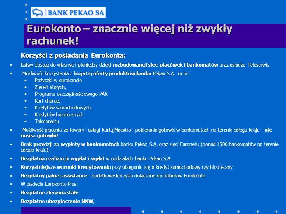 Eurokonto – znacznie więcej niż zwykły rachunek! Korzyści z posiadania Eurokonta: Łatwy dostęp do własnych pieniędzy dzięki rozbudowanej sieci placówe