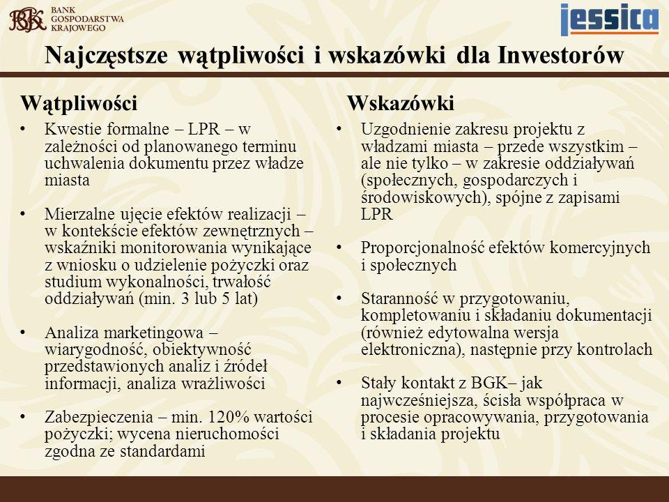 Wątpliwości Kwestie formalne – LPR – w zależności od planowanego terminu uchwalenia dokumentu przez władze miasta Mierzalne ujęcie efektów realizacji