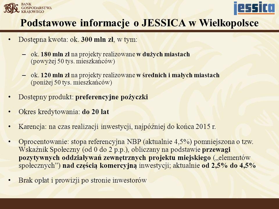 Podstawowe informacje o JESSICA w Wielkopolsce Dostępna kwota: ok. 300 mln zł, w tym: – ok. 180 mln zł na projekty realizowane w dużych miastach (powy