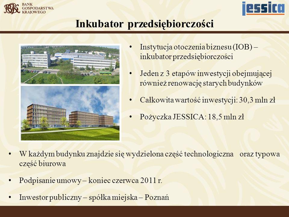 Utworzenie i utrzymanie systemu monitoringu wizyjnego Utworzenie sali szkoleniowej, bezpłatne szkolenia dla mieszkańców Inwestor prywatny – Poznań Stworzenie nowoczesnego budynku biurowego na wynajem, poprzez modernizację nieruchomości poprzemysłowej Całkowita wartość inwestycji: 30 mln zł Pożyczka JESSICA: 22,5 mln zł Utworzenie i utrzymanie parku na działce miejskiej, budowa i modernizacja dróg dojazdowych i chodników Centrum biurowe Podwale