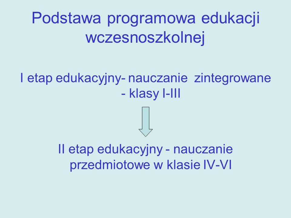 Edukacja wczesnoszkolna - 3 lata nauki szkolnej Klasa I poznawanie wiadomości i kształcenie umiejętności Klasa II – III powtarzanie, pogłębianie i rozszerzanie